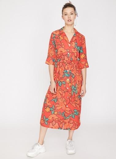 Koton Koton Çiçek Desenli Turuncu Elbise Kırmızı